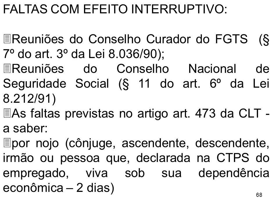 68 FALTAS COM EFEITO INTERRUPTIVO: 3Reuniões do Conselho Curador do FGTS (§ 7º do art. 3º da Lei 8.036/90); 3Reuniões do Conselho Nacional de Segurida