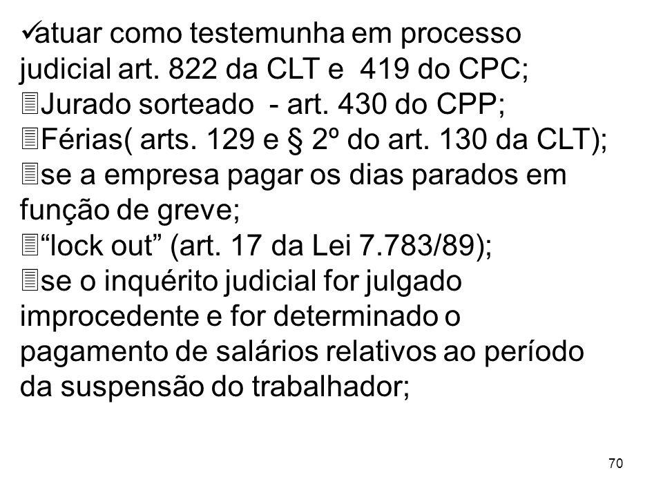 70 atuar como testemunha em processo judicial art. 822 da CLT e 419 do CPC; 3Jurado sorteado - art. 430 do CPP; 3Férias( arts. 129 e § 2º do art. 130