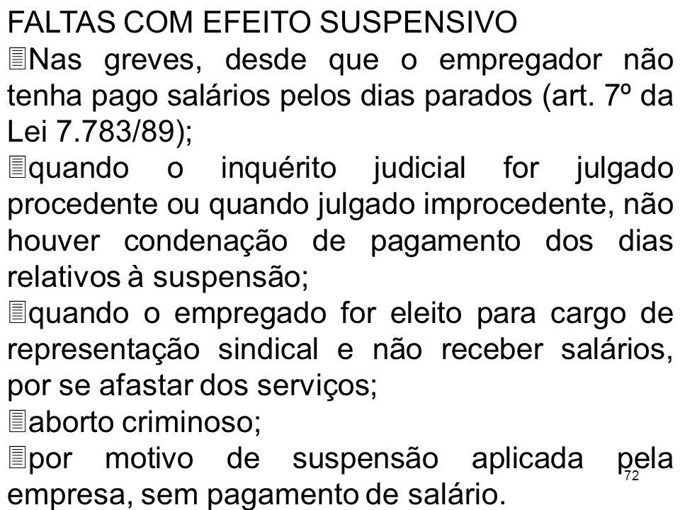 72 FALTAS COM EFEITO SUSPENSIVO 3Nas greves, desde que o empregador não tenha pago salários pelos dias parados (art. 7º da Lei 7.783/89); 3quando o in