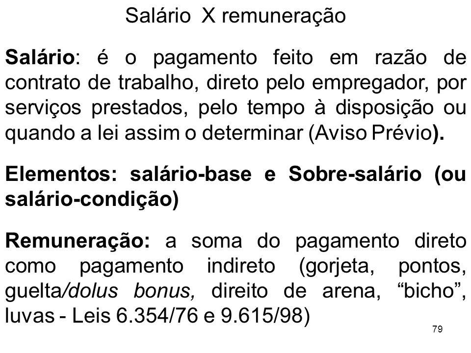 79 Salário X remuneração Salário: é o pagamento feito em razão de contrato de trabalho, direto pelo empregador, por serviços prestados, pelo tempo à d