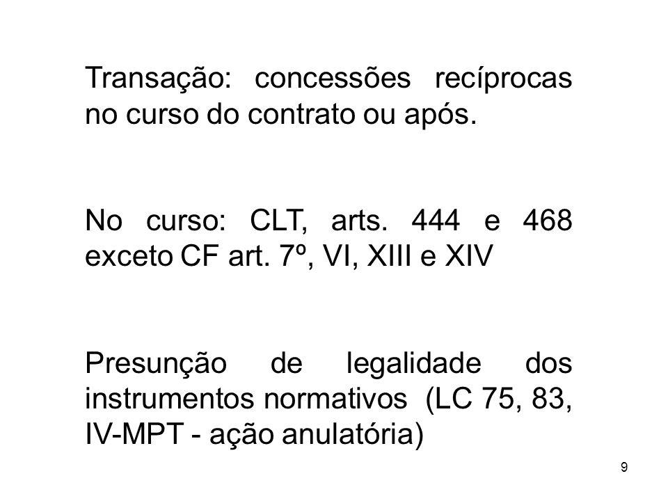 9 Transação: concessões recíprocas no curso do contrato ou após. No curso: CLT, arts. 444 e 468 exceto CF art. 7º, VI, XIII e XIV Presunção de legalid