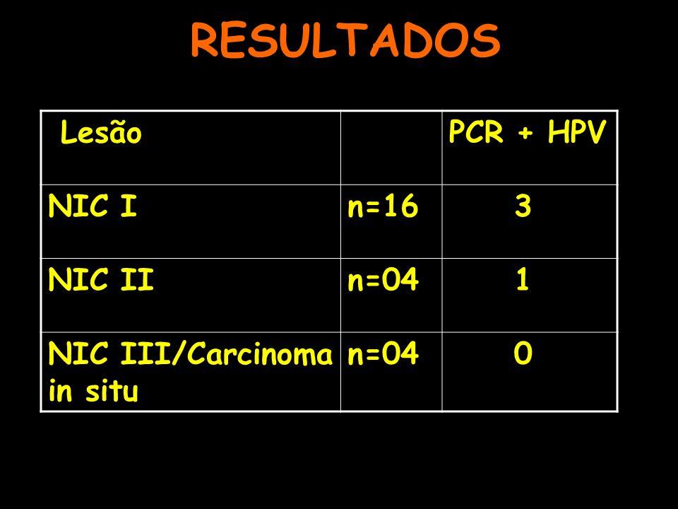 RESULTADOS LesãoPCR + HPV NIC In=16 3 NIC IIn=04 1 NIC III/Carcinoma in situ n=04 0