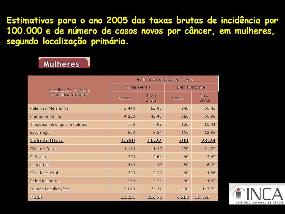 Estimativas para o ano 2005 das taxas brutas de incidência por 100.000 e de número de casos novos por câncer, em mulheres, segundo localização primári