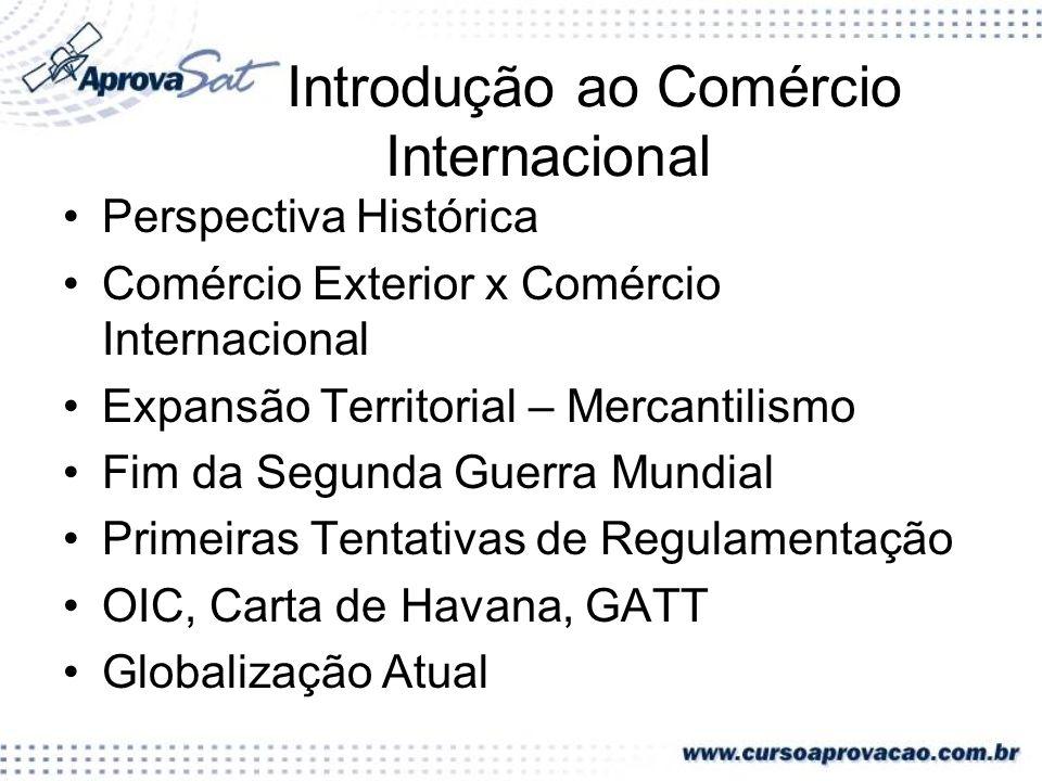 Introdução ao Comércio Internacional Perspectiva Histórica Comércio Exterior x Comércio Internacional Expansão Territorial – Mercantilismo Fim da Segu