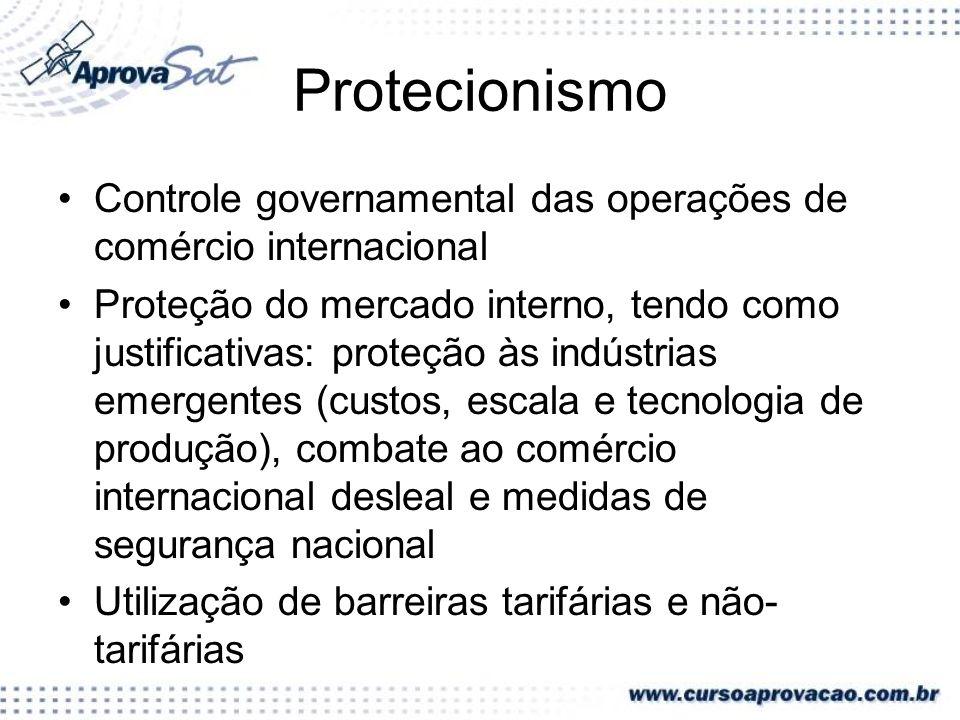Protecionismo Controle governamental das operações de comércio internacional Proteção do mercado interno, tendo como justificativas: proteção às indús