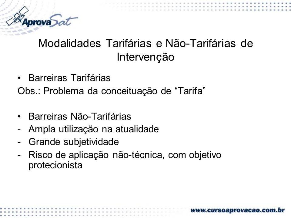 Modalidades Tarifárias e Não-Tarifárias de Intervenção Barreiras Tarifárias Obs.: Problema da conceituação de Tarifa Barreiras Não-Tarifárias -Ampla u