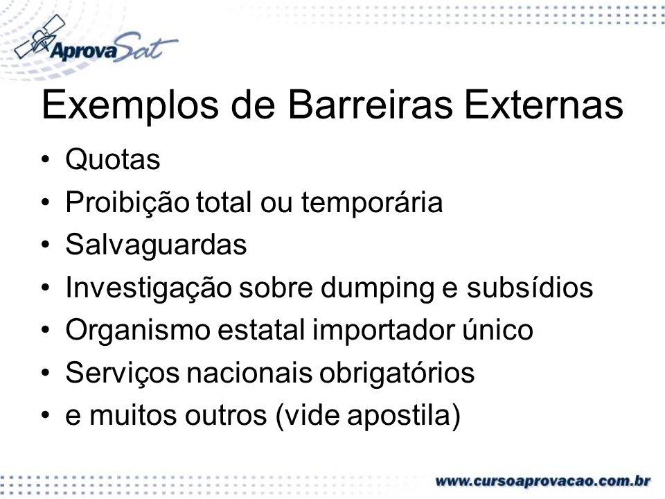 Exemplos de Barreiras Externas Quotas Proibição total ou temporária Salvaguardas Investigação sobre dumping e subsídios Organismo estatal importador ú