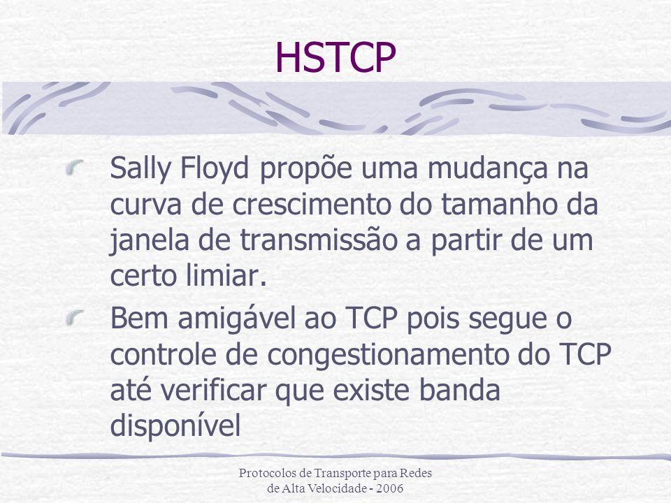 Protocolos de Transporte para Redes de Alta Velocidade - 2006 HSTCP Sally Floyd propõe uma mudança na curva de crescimento do tamanho da janela de tra