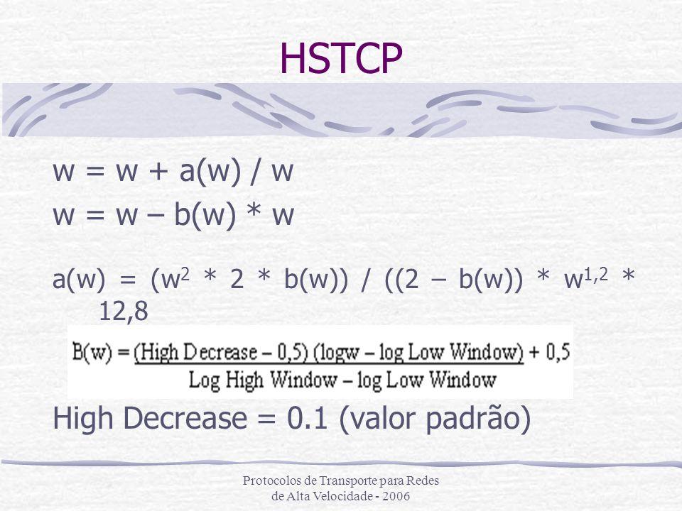 Protocolos de Transporte para Redes de Alta Velocidade - 2006 HSTCP w = w + a(w) / w w = w – b(w) * w a(w) = (w 2 * 2 * b(w)) / ((2 – b(w)) * w 1,2 *