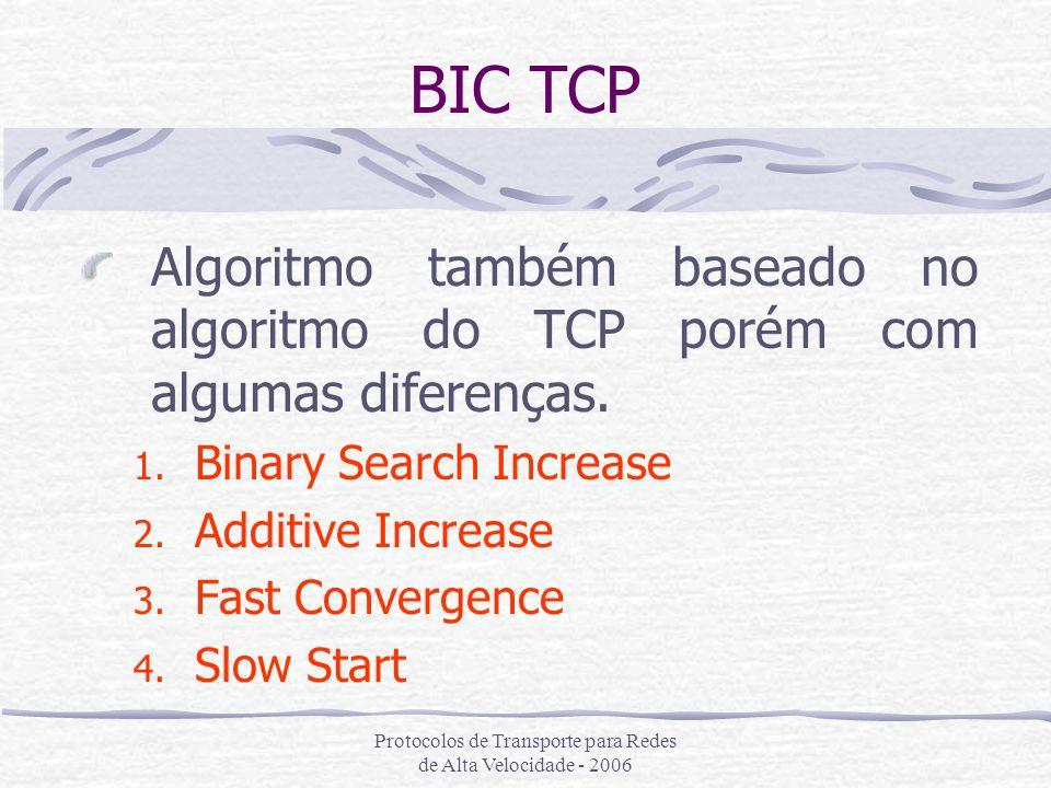 Protocolos de Transporte para Redes de Alta Velocidade - 2006 BIC TCP Algoritmo também baseado no algoritmo do TCP porém com algumas diferenças. 1. Bi