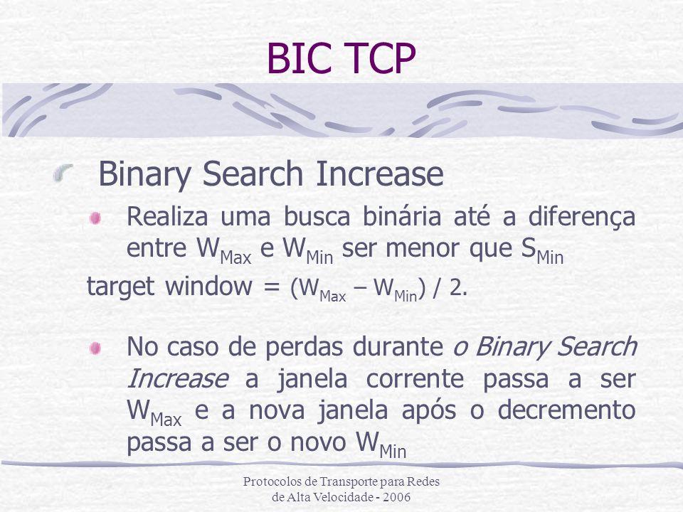 Protocolos de Transporte para Redes de Alta Velocidade - 2006 BIC TCP Binary Search Increase Realiza uma busca binária até a diferença entre W Max e W