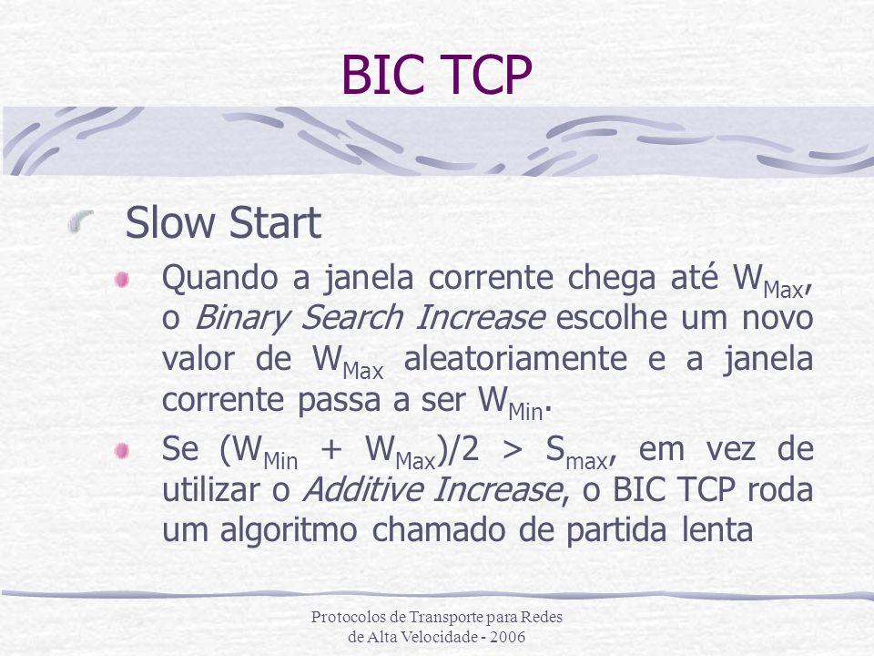 Protocolos de Transporte para Redes de Alta Velocidade - 2006 BIC TCP Slow Start Quando a janela corrente chega até W Max, o Binary Search Increase es