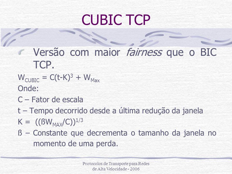 Protocolos de Transporte para Redes de Alta Velocidade - 2006 CUBIC TCP Versão com maior fairness que o BIC TCP. W CUBIC = C(t-K) 3 + W Max Onde: C –