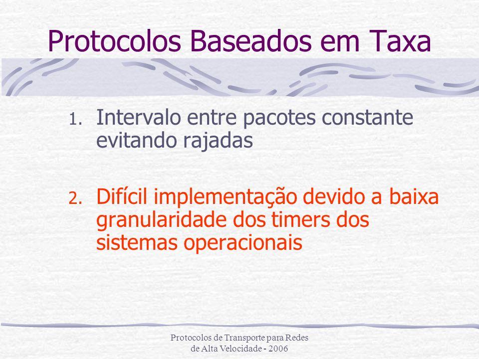 Protocolos de Transporte para Redes de Alta Velocidade - 2006 Protocolos Baseados em Taxa 1. Intervalo entre pacotes constante evitando rajadas 2. Dif