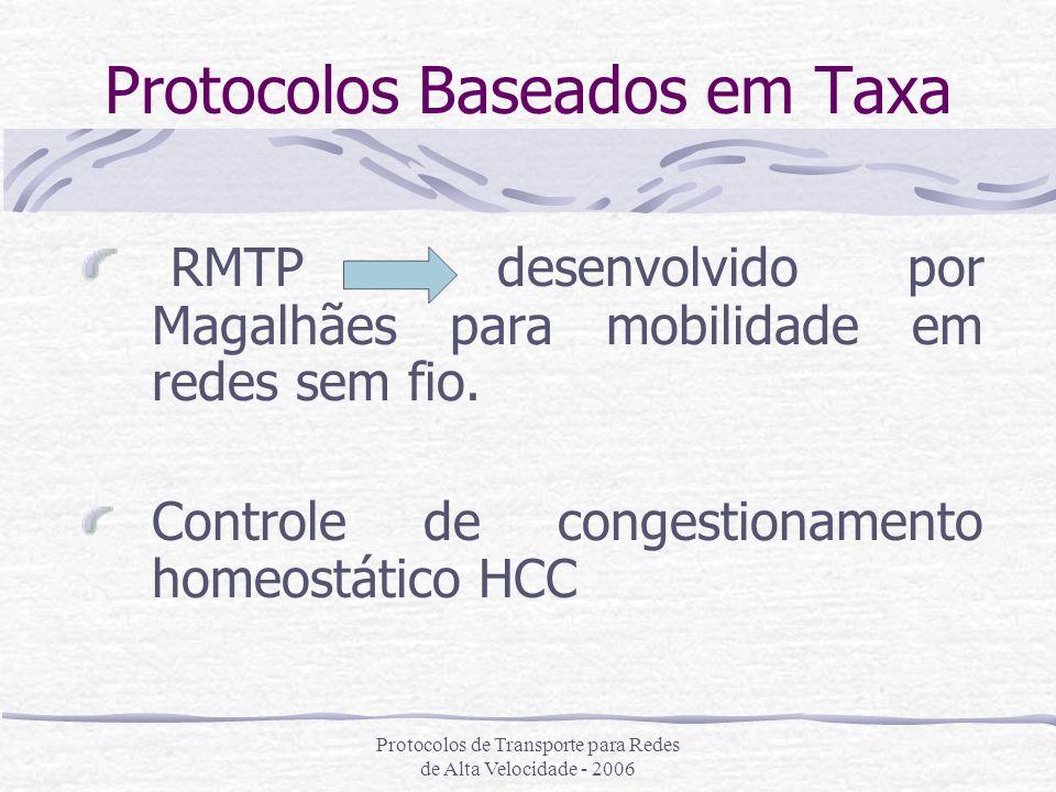 Protocolos de Transporte para Redes de Alta Velocidade - 2006 Protocolos Baseados em Taxa RMTP desenvolvido por Magalhães para mobilidade em redes sem