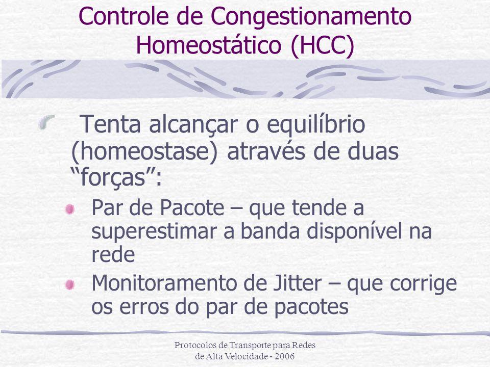Protocolos de Transporte para Redes de Alta Velocidade - 2006 Controle de Congestionamento Homeostático (HCC) Tenta alcançar o equilíbrio (homeostase)