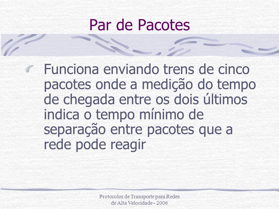 Protocolos de Transporte para Redes de Alta Velocidade - 2006 Par de Pacotes Funciona enviando trens de cinco pacotes onde a medição do tempo de chega