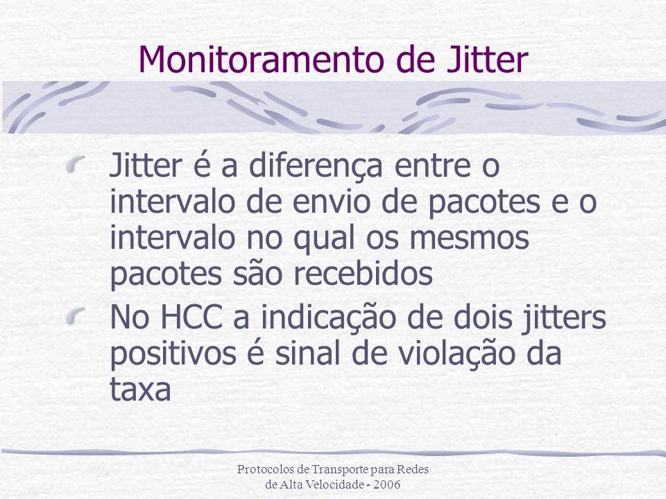 Protocolos de Transporte para Redes de Alta Velocidade - 2006 Monitoramento de Jitter Jitter é a diferença entre o intervalo de envio de pacotes e o i