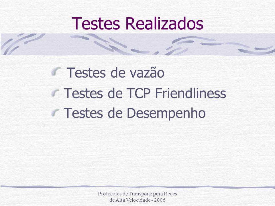 Protocolos de Transporte para Redes de Alta Velocidade - 2006 Testes Realizados Testes de vazão Testes de TCP Friendliness Testes de Desempenho