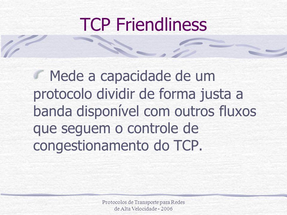 Protocolos de Transporte para Redes de Alta Velocidade - 2006 TCP Friendliness Mede a capacidade de um protocolo dividir de forma justa a banda dispon