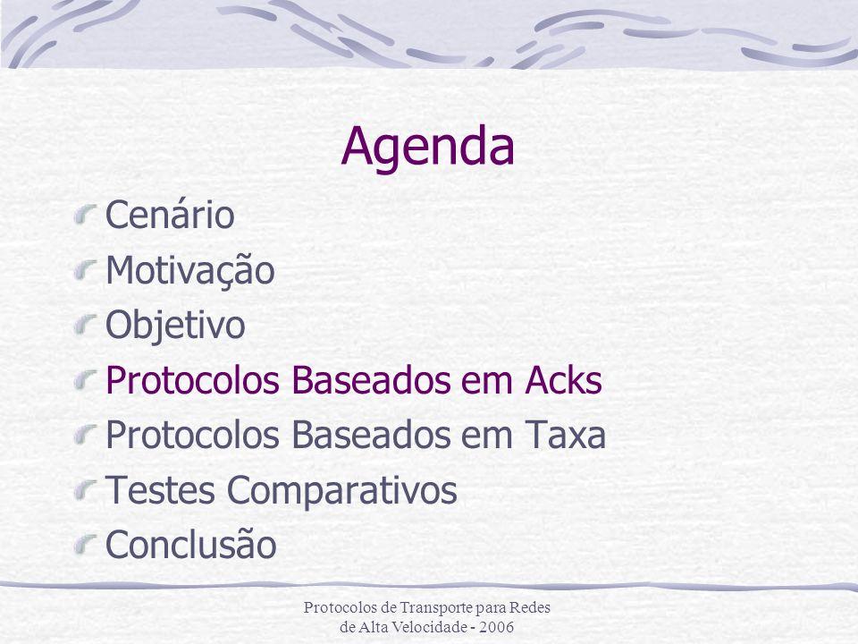 Protocolos de Transporte para Redes de Alta Velocidade - 2006 Duas Famílias Protocolos similiares ao TCP, porém com outro controle de congestionamento Protocolos que funcionam como um agregado de fluxos TCP