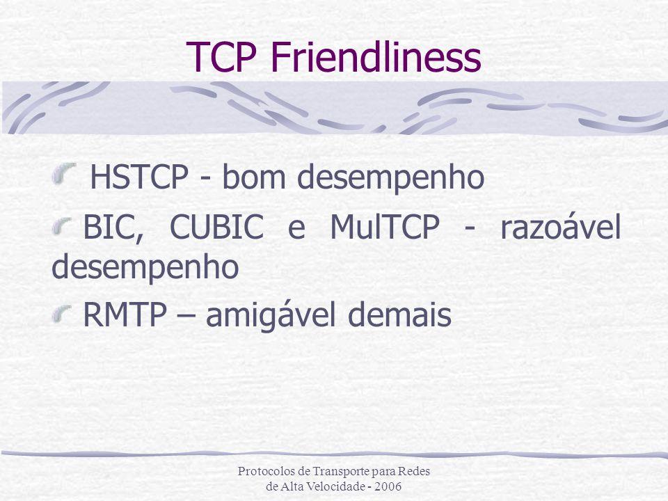 Protocolos de Transporte para Redes de Alta Velocidade - 2006 TCP Friendliness HSTCP - bom desempenho BIC, CUBIC e MulTCP - razoável desempenho RMTP –
