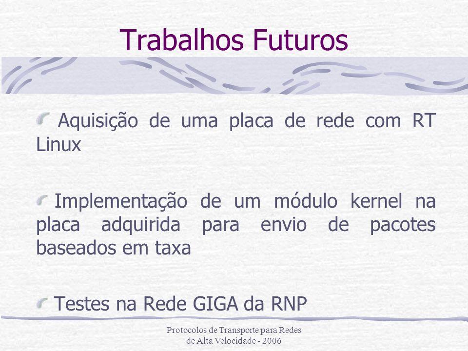 Protocolos de Transporte para Redes de Alta Velocidade - 2006 Trabalhos Futuros Aquisição de uma placa de rede com RT Linux Implementação de um módulo
