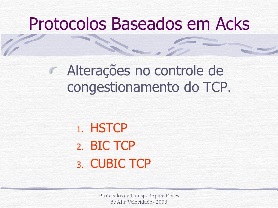 Protocolos de Transporte para Redes de Alta Velocidade - 2006 Protocolos Baseados em Acks Alterações no controle de congestionamento do TCP. 1. HSTCP