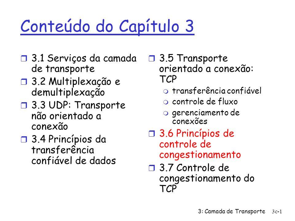 3: Camada de Transporte3c-12 Controle de Congestionamento do TCP r controle fim-a-fim (sem assistência da rede) r transmissor limita a transmissão: LastByteSent-LastByteAcked CongWin r Praticamente, CongWin é dinâmica, em função do congestionamento percebido da rede Como o transmissor percebe o congestionamento.