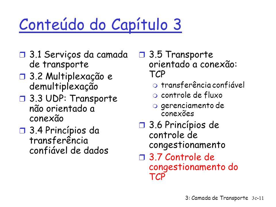 3: Camada de Transporte3c-11 Conteúdo do Capítulo 3 r 3.1 Serviços da camada de transporte r 3.2 Multiplexação e demultiplexação r 3.3 UDP: Transporte