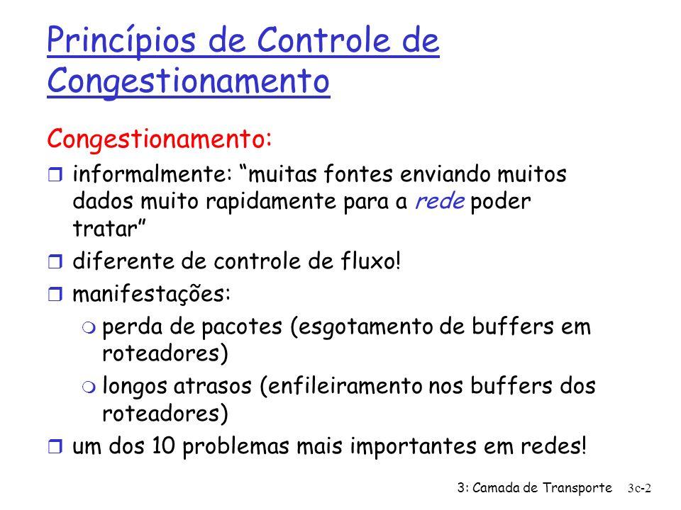 3: Camada de Transporte3c-2 Princípios de Controle de Congestionamento Congestionamento: r informalmente: muitas fontes enviando muitos dados muito ra