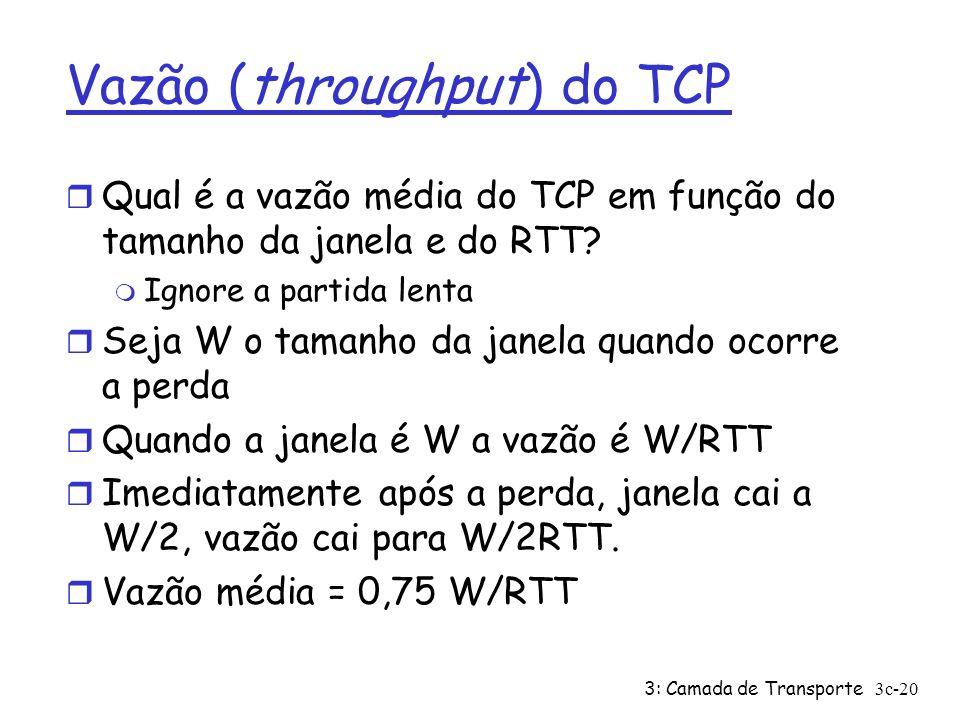 3: Camada de Transporte3c-20 Vazão (throughput) do TCP r Qual é a vazão média do TCP em função do tamanho da janela e do RTT? m Ignore a partida lenta