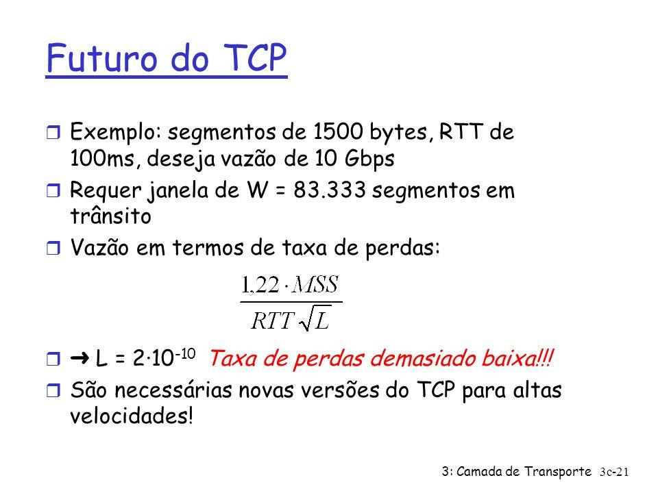 3: Camada de Transporte3c-21 Futuro do TCP r Exemplo: segmentos de 1500 bytes, RTT de 100ms, deseja vazão de 10 Gbps r Requer janela de W = 83.333 seg