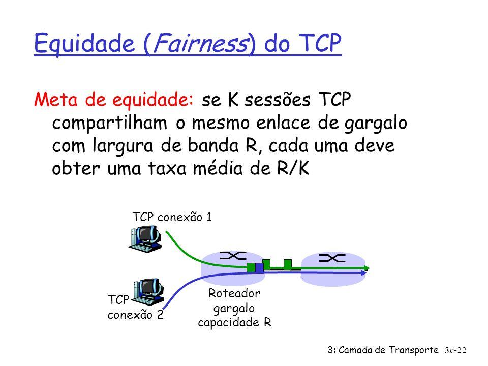 3: Camada de Transporte3c-22 Equidade (Fairness) do TCP Meta de equidade: se K sessões TCP compartilham o mesmo enlace de gargalo com largura de banda
