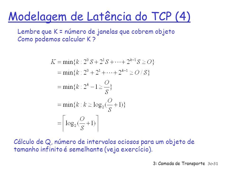 3: Camada de Transporte3c-31 Modelagem de Latência do TCP (4) Cálculo de Q, número de intervalos ociosos para um objeto de tamanho infinito é semelhan