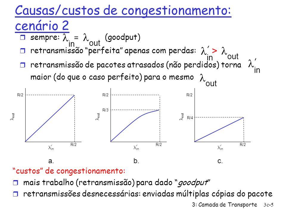 3: Camada de Transporte3c-16 Refinamento r Após 3 ACKs duplicados: corta CongWin pela metade m a janela depois cresce linearmente r Mas após estouro de temporizador: CongWin é reduzida a 1 MSS; m janela cresce exponencialmente m até um limiar, depois cresce linearmente 3 ACKs duplicados indica que a rede é capaz de entregar alguns segmentos estouro de temporizador antes de 3 ACKs duplicados é mais alarmante.
