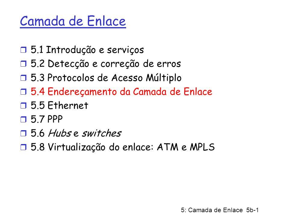 5: Camada de Enlace 5b-1 Camada de Enlace r 5.1 Introdução e serviços r 5.2 Detecção e correção de erros r 5.3 Protocolos de Acesso Múltiplo r 5.4 End
