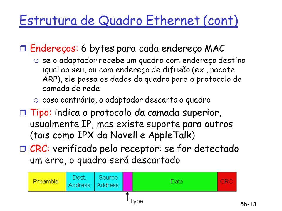 5: Camada de Enlace 5b-13 Estrutura de Quadro Ethernet (cont) r Endereços: 6 bytes para cada endereço MAC m se o adaptador recebe um quadro com endere