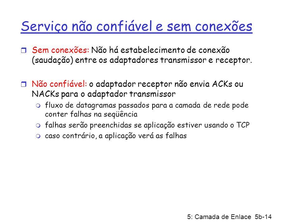 5: Camada de Enlace 5b-14 Serviço não confiável e sem conexões r Sem conexões: Não há estabelecimento de conexão (saudação) entre os adaptadores trans