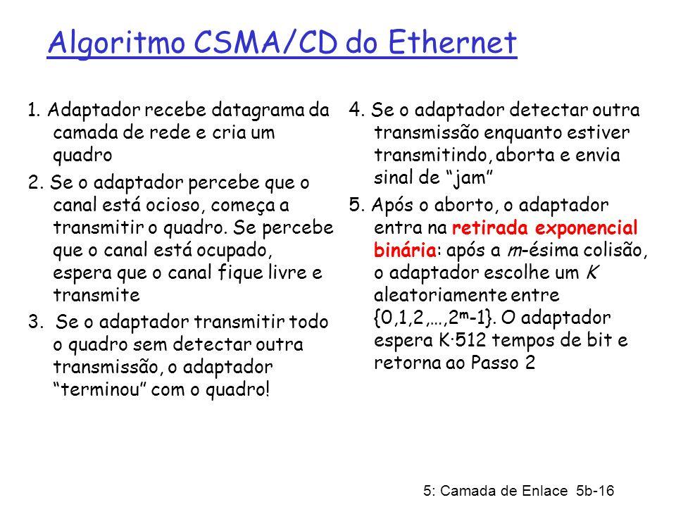 5: Camada de Enlace 5b-16 Algoritmo CSMA/CD do Ethernet 1. Adaptador recebe datagrama da camada de rede e cria um quadro 2. Se o adaptador percebe que