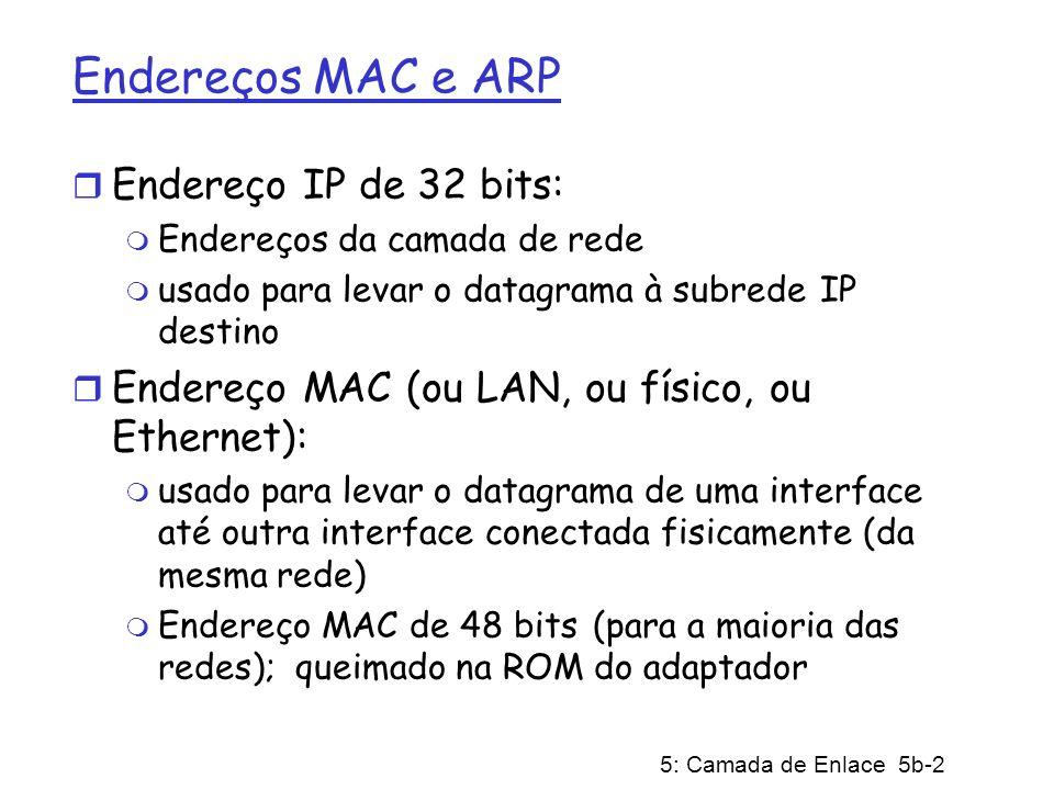 5: Camada de Enlace 5b-2 Endereços MAC e ARP r Endereço IP de 32 bits: m Endereços da camada de rede m usado para levar o datagrama à subrede IP desti
