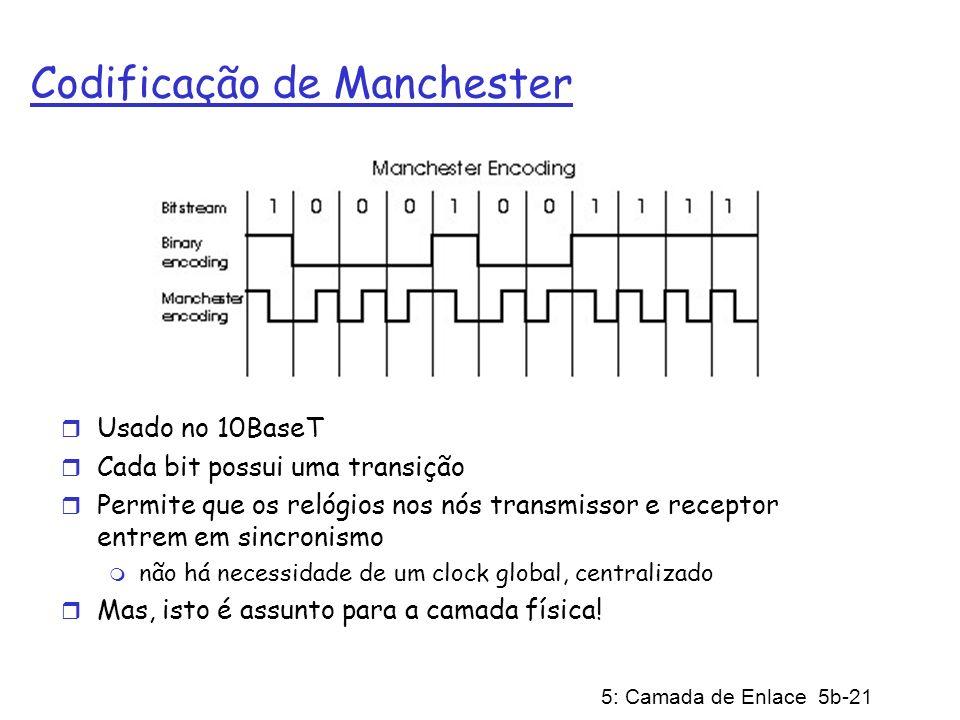 5: Camada de Enlace 5b-21 Codificação de Manchester r Usado no 10BaseT r Cada bit possui uma transição r Permite que os relógios nos nós transmissor e