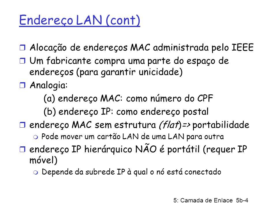 5: Camada de Enlace 5b-4 Endereço LAN (cont) r Alocação de endereços MAC administrada pelo IEEE r Um fabricante compra uma parte do espaço de endereço