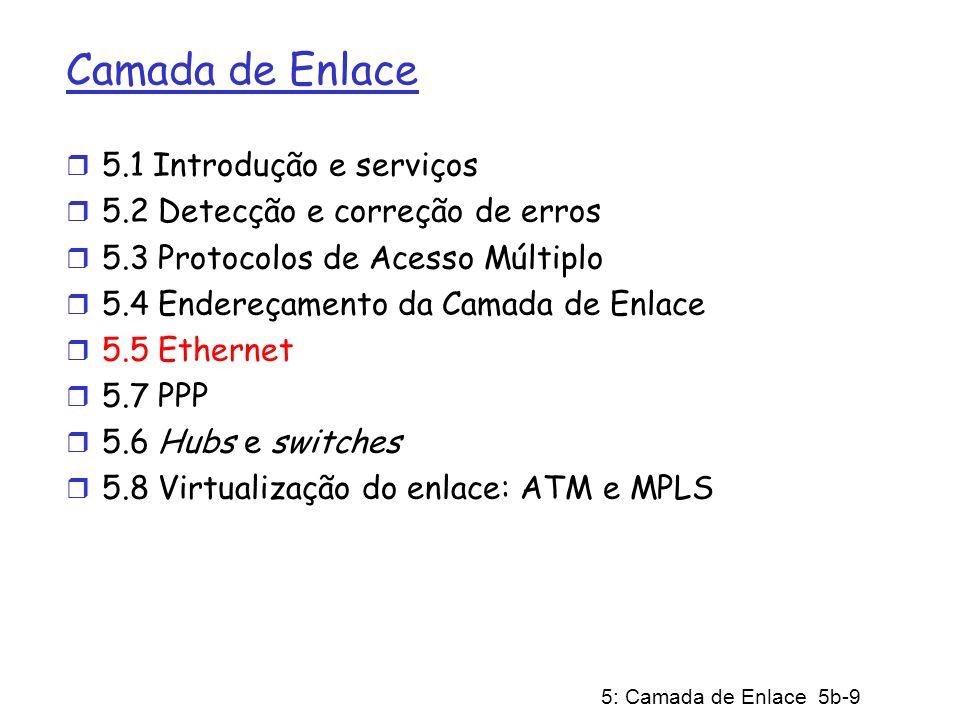 5: Camada de Enlace 5b-9 Camada de Enlace r 5.1 Introdução e serviços r 5.2 Detecção e correção de erros r 5.3 Protocolos de Acesso Múltiplo r 5.4 End