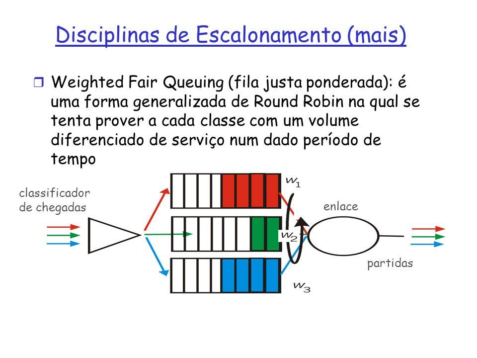r Weighted Fair Queuing (fila justa ponderada): é uma forma generalizada de Round Robin na qual se tenta prover a cada classe com um volume diferenciado de serviço num dado período de tempo Disciplinas de Escalonamento (mais) classificador de chegadas partidas enlace
