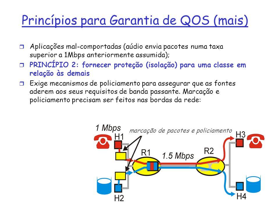 Princípios para Garantia de QOS (mais) r Aplicações mal-comportadas (aúdio envia pacotes numa taxa superior a 1Mbps anteriormente assumida); r PRINCÍP