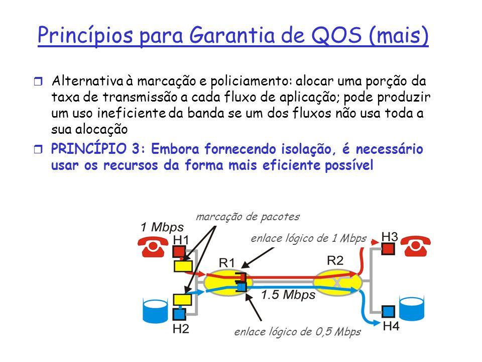 r Alternativa à marcação e policiamento: alocar uma porção da taxa de transmissão a cada fluxo de aplicação; pode produzir um uso ineficiente da banda se um dos fluxos não usa toda a sua alocação r PRINCÍPIO 3: Embora fornecendo isolação, é necessário usar os recursos da forma mais eficiente possível Princípios para Garantia de QOS (mais) marcação de pacotes enlace lógico de 1 Mbps enlace lógico de 0,5 Mbps