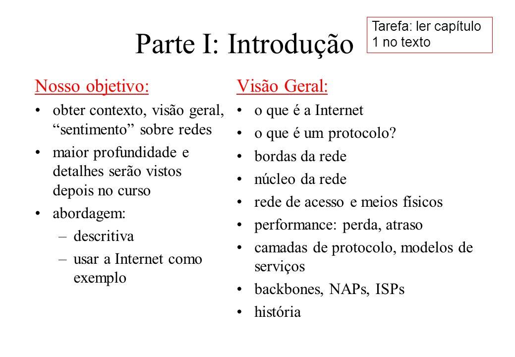 Parte I: Introdução Nosso objetivo: obter contexto, visão geral, sentimento sobre redes maior profundidade e detalhes serão vistos depois no curso abo