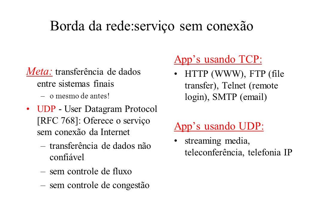 Borda da rede:serviço sem conexão Meta: transferência de dados entre sistemas finais –o mesmo de antes! UDP - User Datagram Protocol [RFC 768]: Oferec