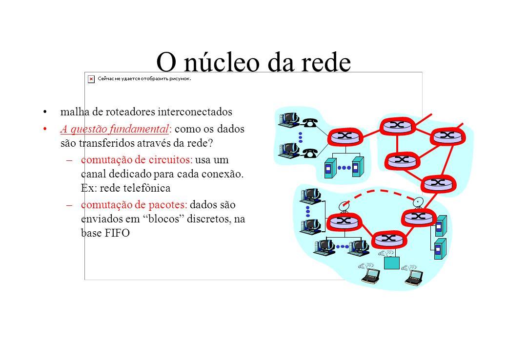 O núcleo da rede malha de roteadores interconectados A questão fundamental: como os dados são transferidos através da rede? –comutação de circuitos: u